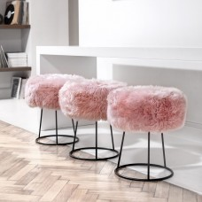 Pink Sheepskin Metal Stool